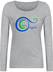 Tee-Shirt Bio Manches longues Femme, Heather Grey. Imprimé: Logo Capra Origine.