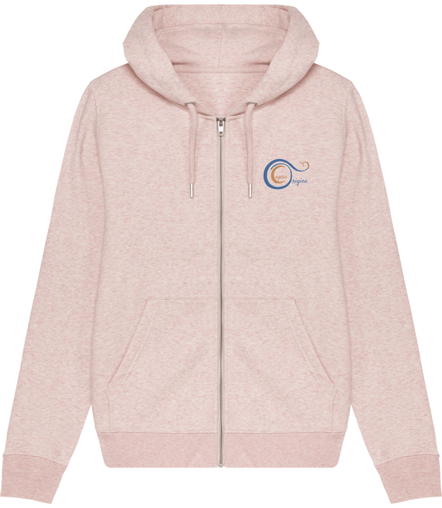 "Sweat-Shirt Bio Capuche Zip Femme, couleur Crème chiné Rose. Face. Logo Capra Origine aux couleurs du design ""Speedy Rabbit""."