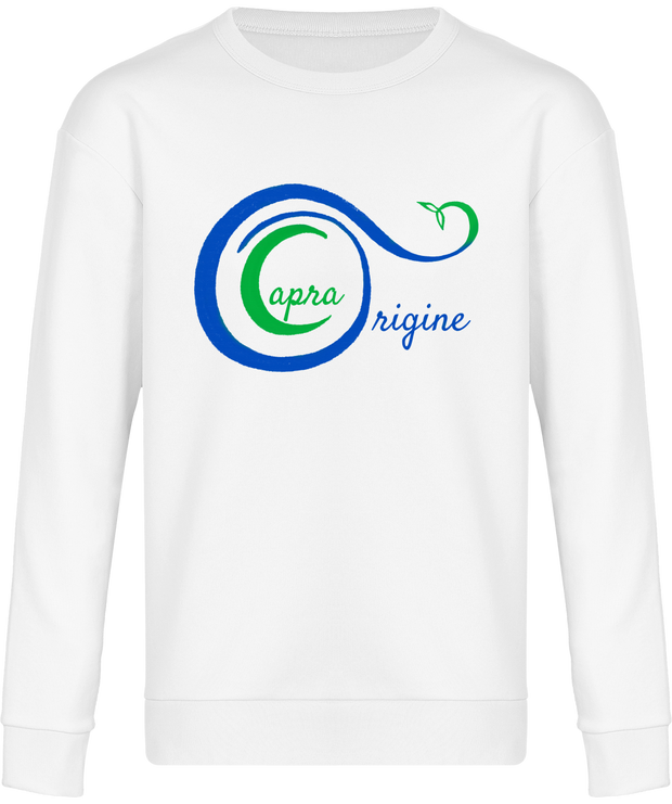 Sweat-Shirt Bio Mixte Détente. Blanc. Imprimé : Logo Capra Origine.