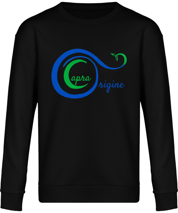 Sweat-Shirt Bio Mixte Détente. Noir. Imprimé Logo Capra Origine.
