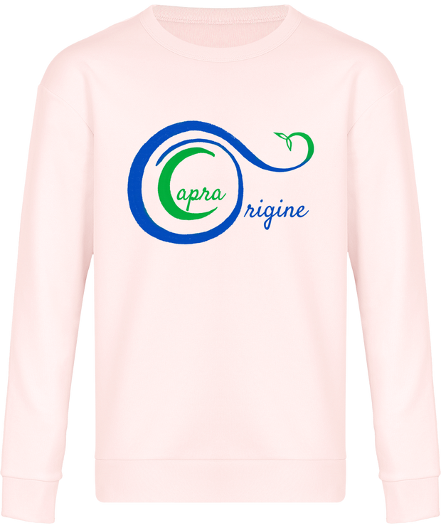 Sweat-Shirt Bio Mixte Détente. Rose Bonbon. Imprimé: Logo Capra Origine.