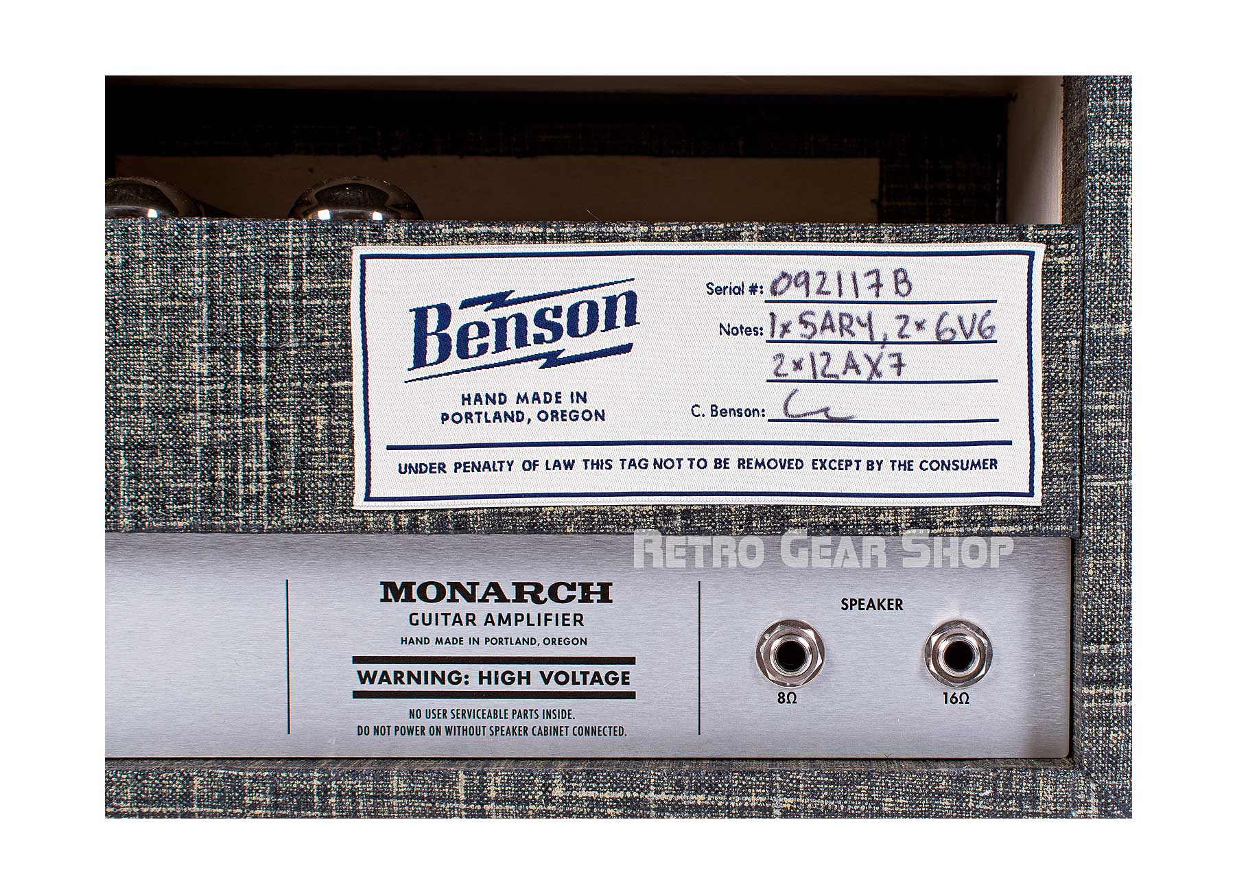 Benson Amps Monarch Head Night Moves Serial Badge Specs
