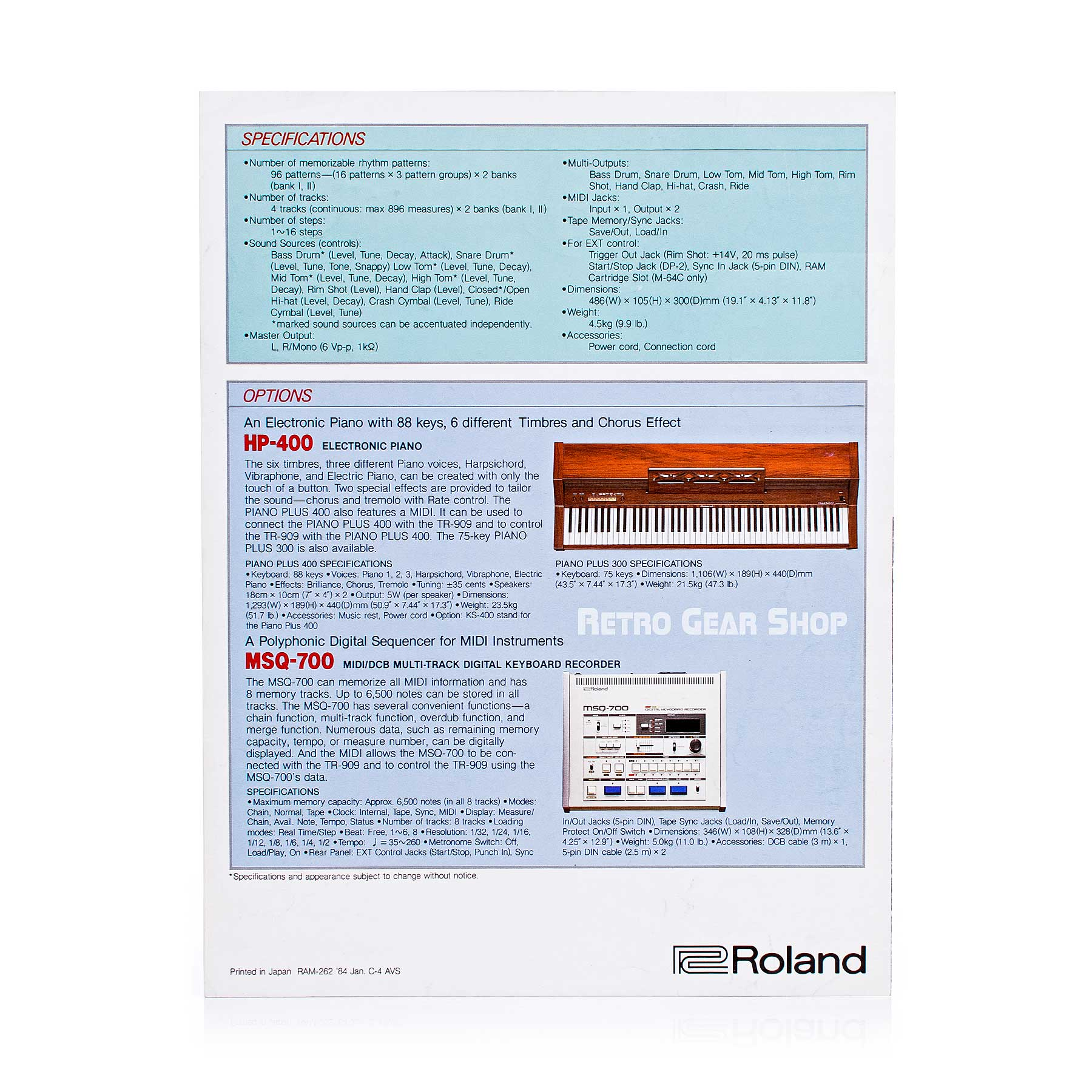 Roland TR-909 Brochure Advertisement Rear
