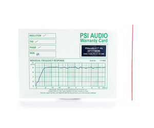 PSI Audio A17-M Warranty Calibration Card