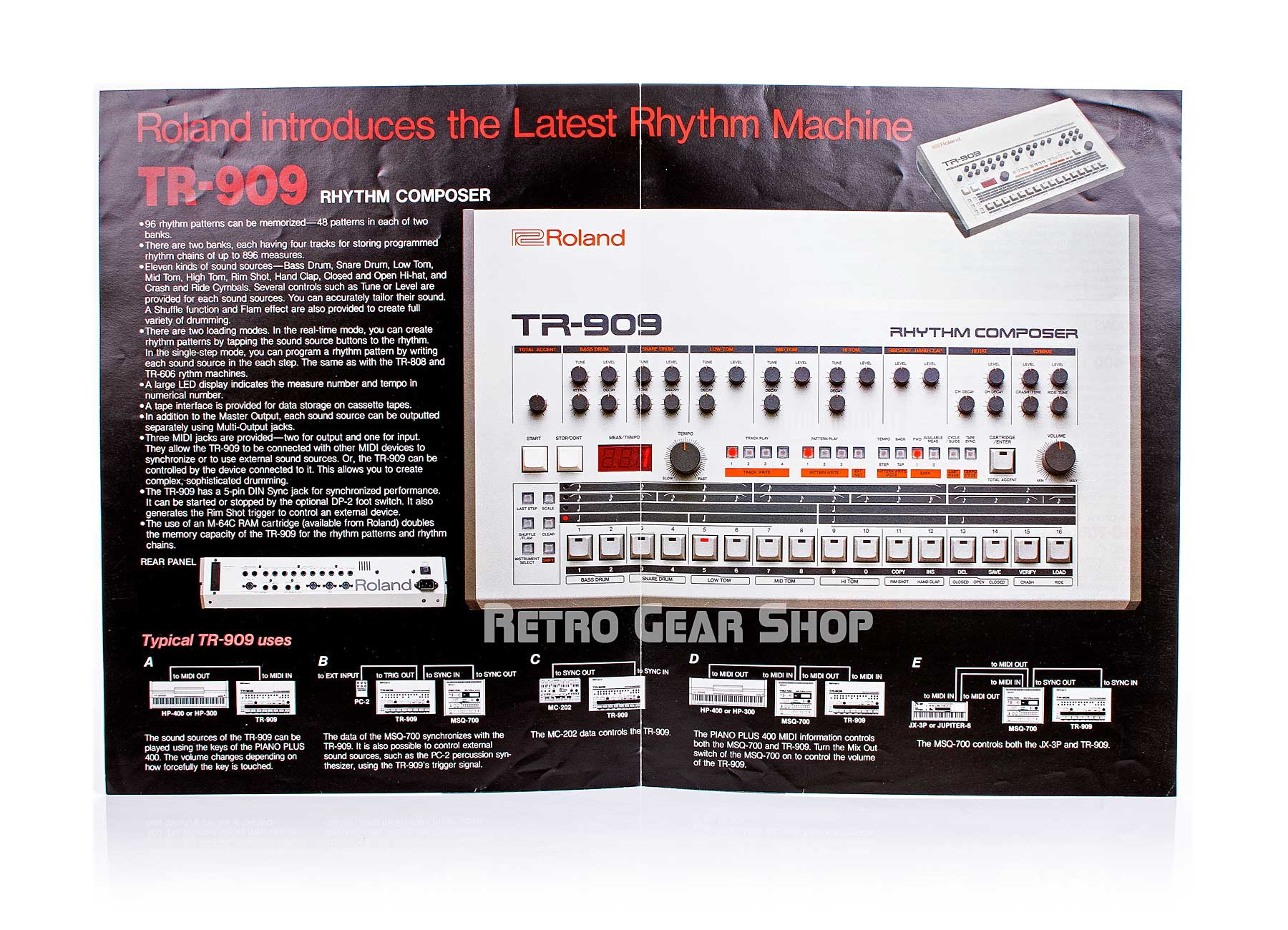Roland TR-909 Brochure Advertisement Open