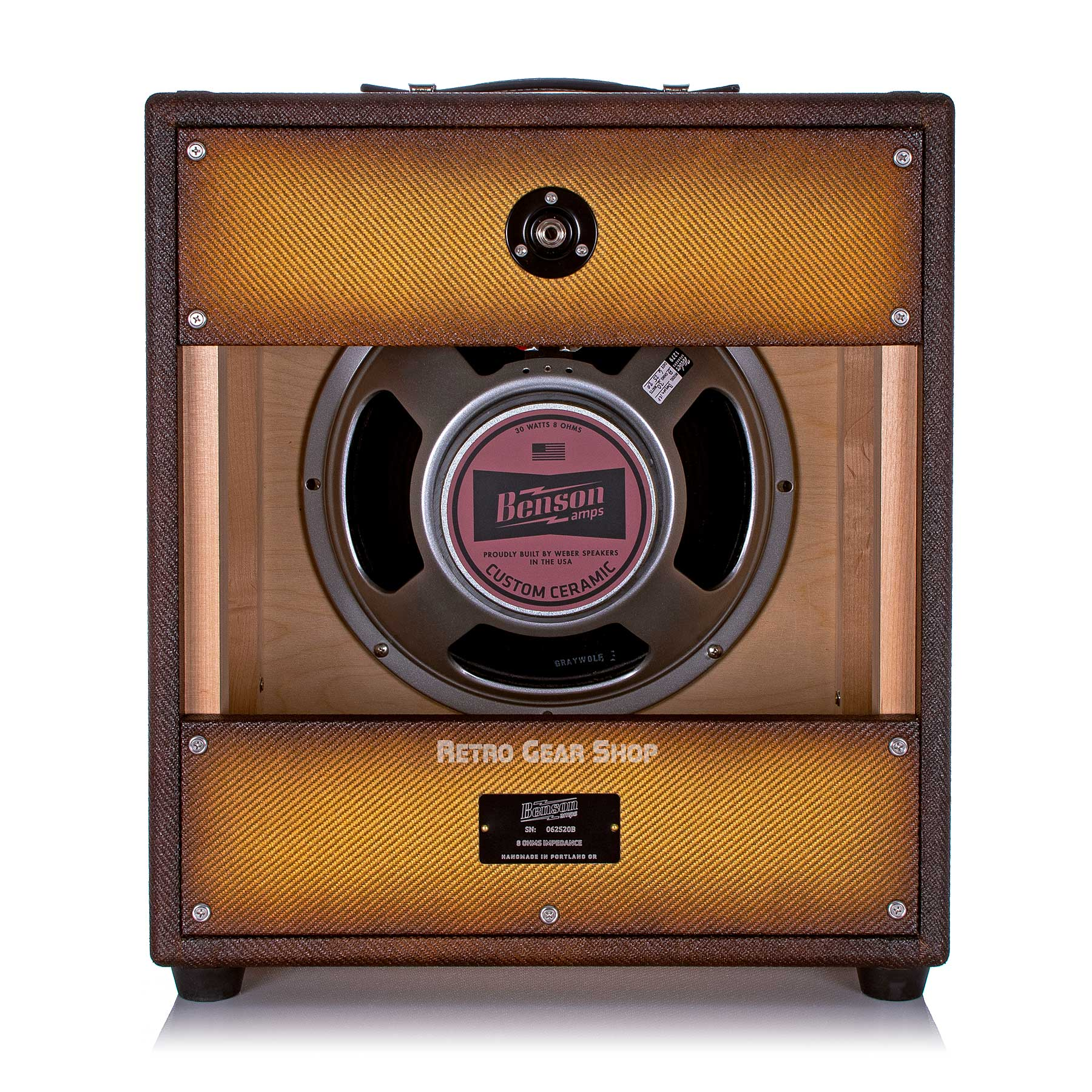 Benson Amps 1x12 Cab Bourbon Burst Oxblood Grill Rear Custom Ceramic Weber Speaker