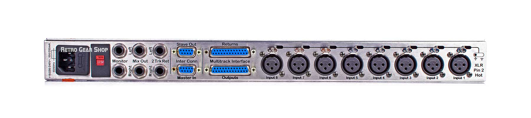 JDK Audio 8MX2 8x2 Summing Mixer Mic Preamp Rear