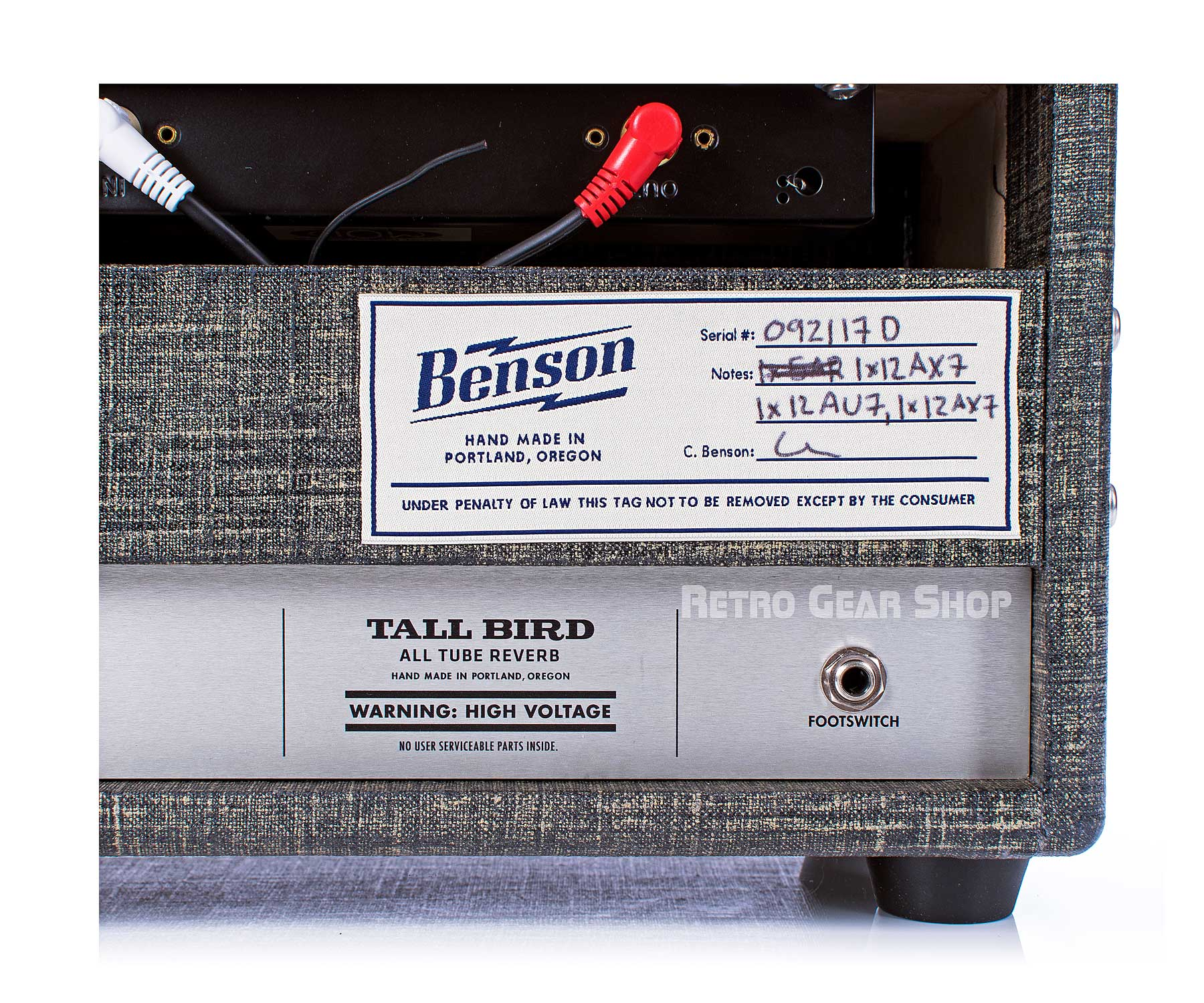 Benson Amps Tall Bird Serial Number