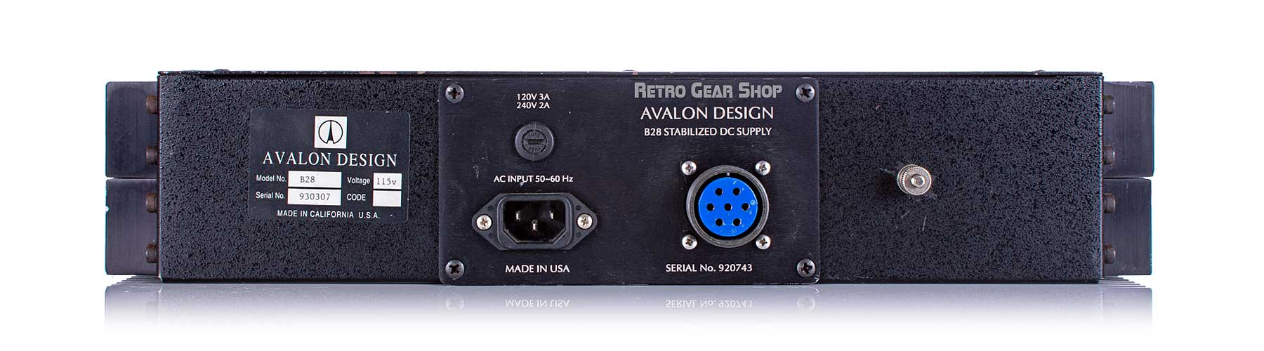 Avalon L44 Compressors Power Supply Rear