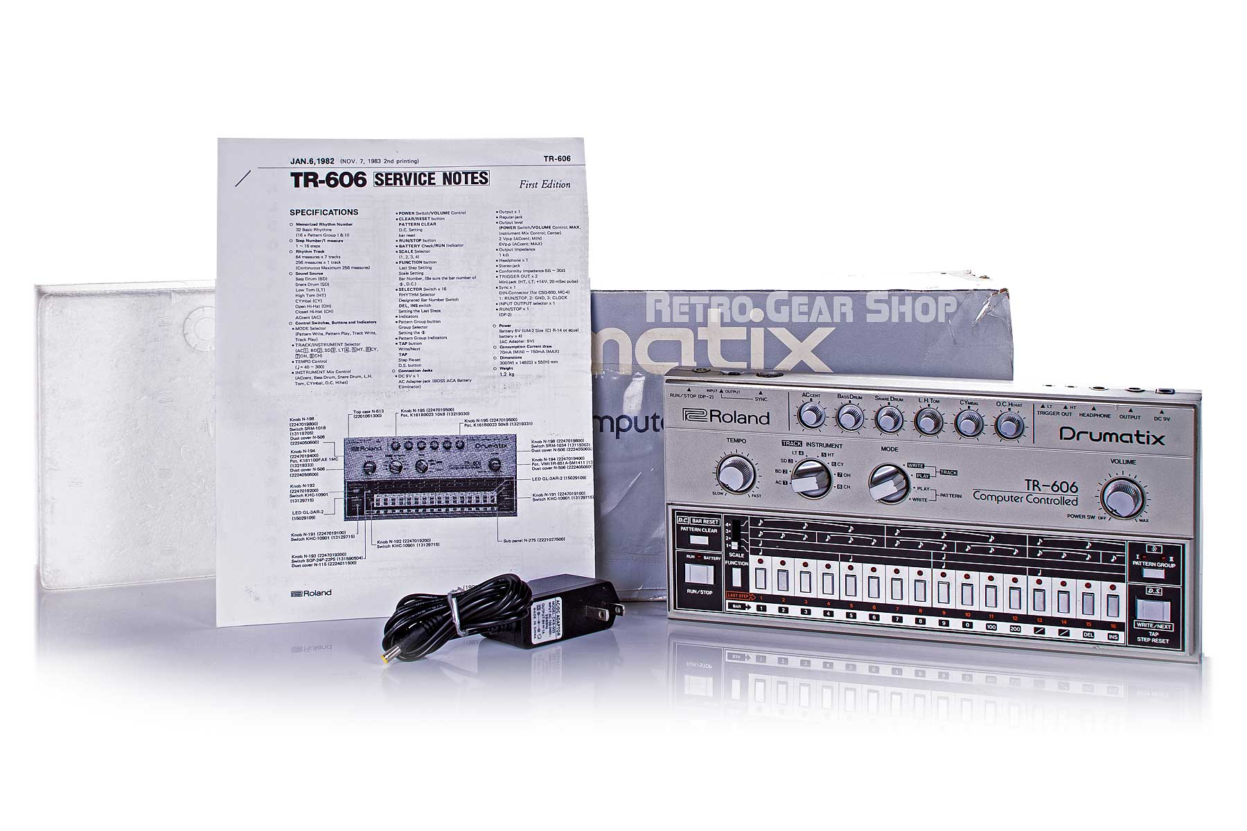 Roland TR-606 Drumatix Original Box Manual Power Supply