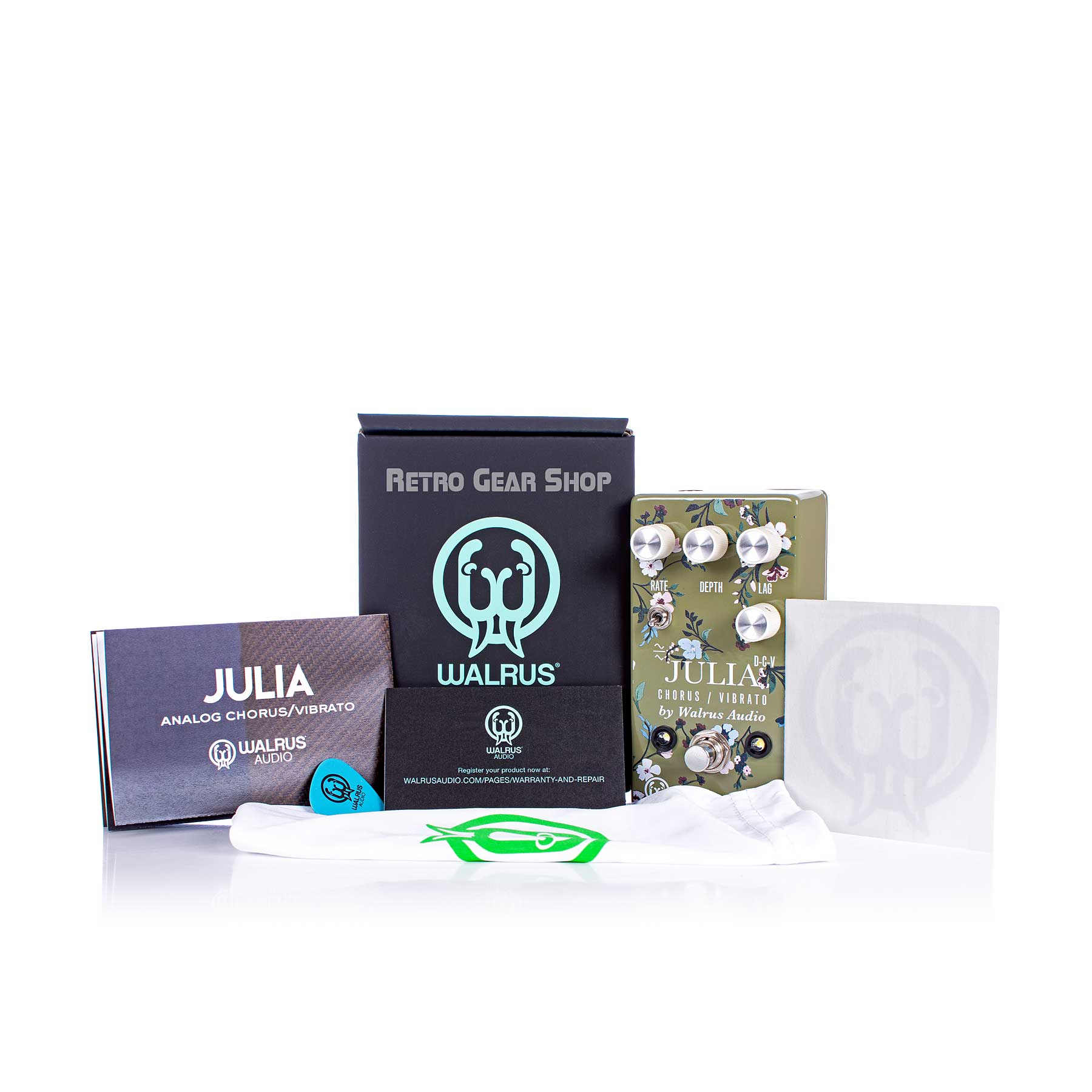 Walrus Audio Julia Analog Chorus/Vibrato Floral Series Box Manual Extras