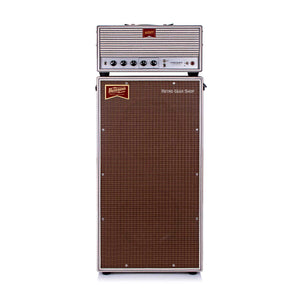 Benson Vincent Head + 2x12 Cab White Classic Striped Oxblood Guitar Tube Amp