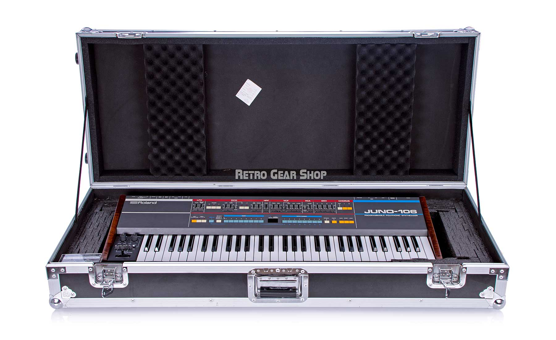 Roland Juno-106 Custom Wood Endcheeks + Flight Case