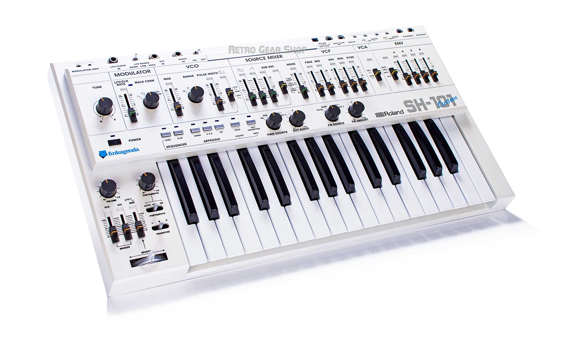 Roland SH-101 Custom White + Modifications Rare Vintage Analog Synthesizer SH101