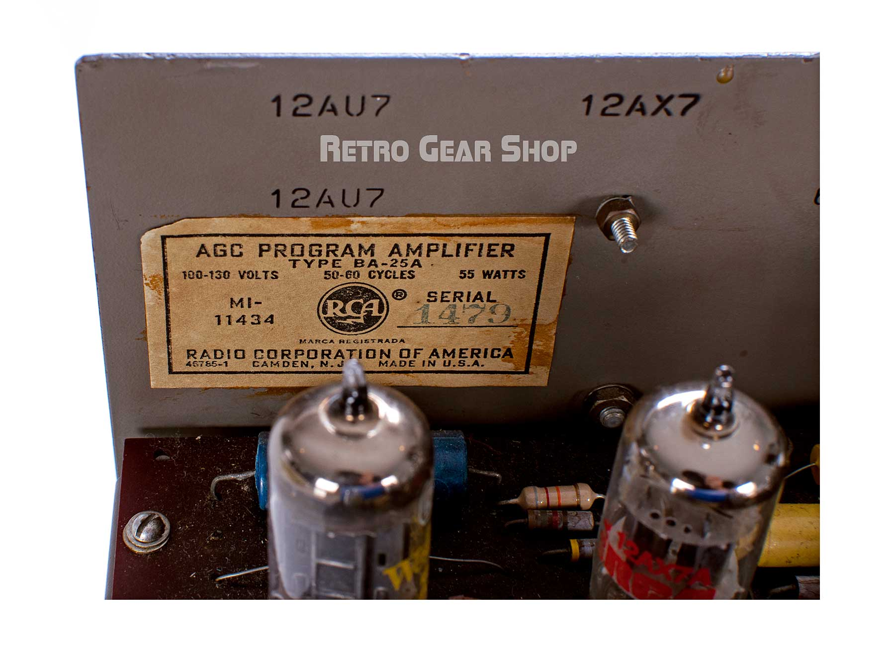 RCA BA-25A AGC Program Amplifier Serial Badge