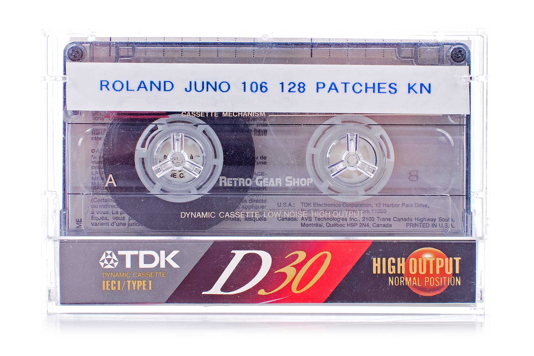 Roland Juno-106 Custom Wood Cassette Tape Sound Patches