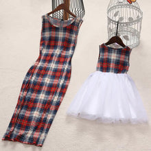 Load image into Gallery viewer, Mom Girl Plaid Tulle Sleeveless Matching Dress - yoyosfashion
