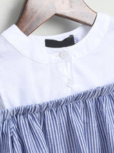 Load image into Gallery viewer, Mom Girl Cold Shoulder Stripes Dress - yoyosfashion