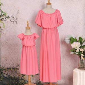 Mom Girl Chiffon Solid Color Off-Shoulder Matching Dress - yoyosfashion
