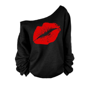 One Shoulder Round Neck Lips Printed T-Shirts - yoyosfashion