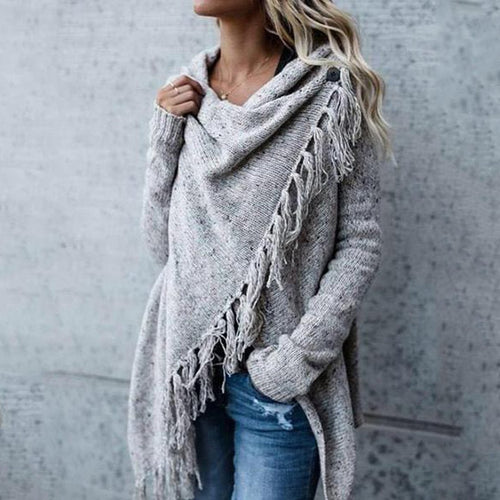 Fringed Heap Neck Cropped Cardigan - yoyosfashion