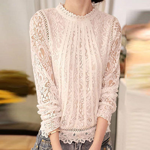 High Neck  See-Through  Floral Blouses - yoyosfashion