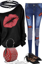 Load image into Gallery viewer, One Shoulder Round Neck Lips Printed T-Shirts - yoyosfashion