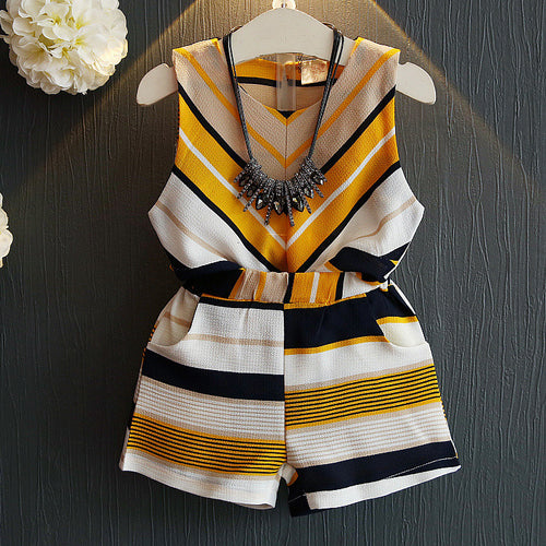 Girls Stripe Two Pieces Set Without Accessory - yoyosfashion