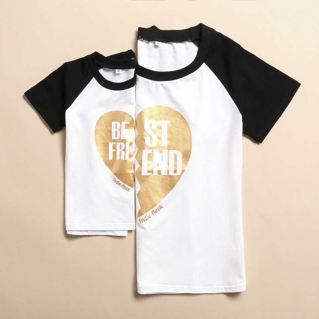 Mom Kids Loving Heart Pattern T-Shirt - yoyosfashion
