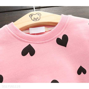 Cute Heart Print Two Pieces Set - yoyosfashion