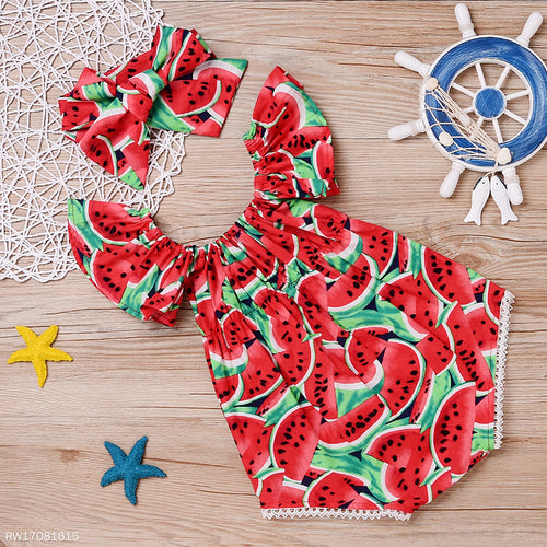 Fly Sleeve Watermelon Pattern Romper With Headband - yoyosfashion