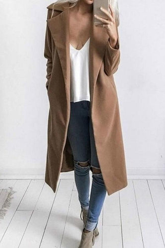 Fold Over Collar  Snap Front  Plain Outerwear - yoyosfashion