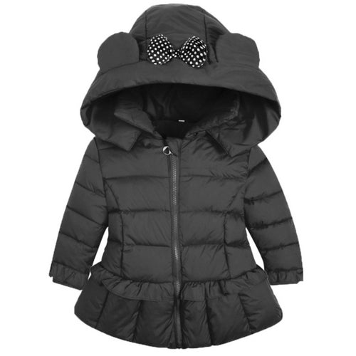 Hooded Bowknot Decorated Puffer Coat - yoyosfashion