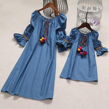 Load image into Gallery viewer, Mom Girl Pompon Decorated Self Tie Collar Lantern Trumpet Sleeve Matching Dress - yoyosfashion