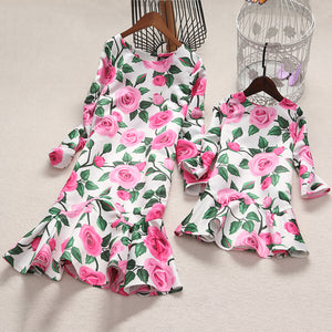 Mom Girl Rose Prints Frill Hem Matching Dress - yoyosfashion