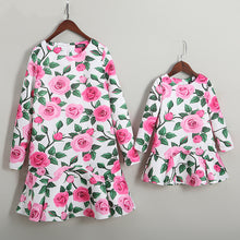 Load image into Gallery viewer, Mom Girl Rose Prints Frill Hem Matching Dress - yoyosfashion
