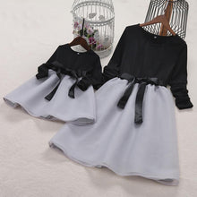 Load image into Gallery viewer, Mom Girl Bowknot Self Tie Color Block Matching Dress - yoyosfashion