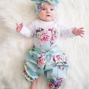 Flower Prints Heart Pattern Bowknot Decorated Set - yoyosfashion