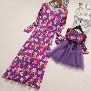 Mom Girl Roses Prints Drawstring Self Tie Matching Dress - yoyosfashion