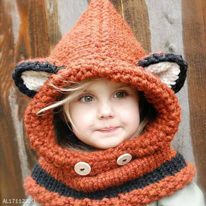 Thickened Knitted Little Ear Neck Gaiter Cap Two-In-One - yoyosfashion