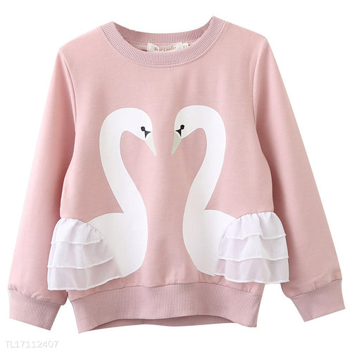 Thickened Swan Pattern Round Neck Sweatshirt - yoyosfashion