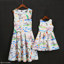 Load image into Gallery viewer, Mom Girl Cartoon Character Graffiti Prints Pleated Matching Dress - yoyosfashion