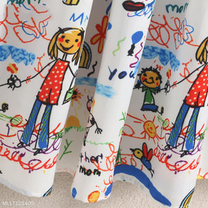 Mom Girl Cartoon Character Graffiti Prints Pleated Matching Dress - yoyosfashion