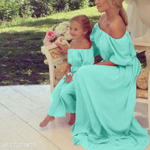 Load image into Gallery viewer, Mom Girl Chiffon Solid Color Off-Shoulder Matching Dress - yoyosfashion