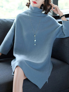 Oversized Turtleneck Plain Knitted Shift Dress - yoyosfashion