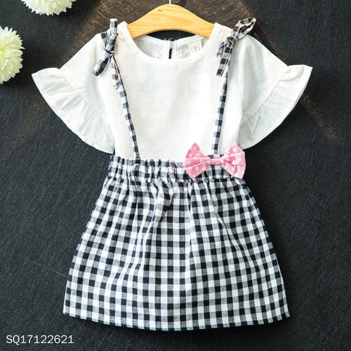 Fly Sleeve Grid Bowknot Cami Dress Sets - yoyosfashion