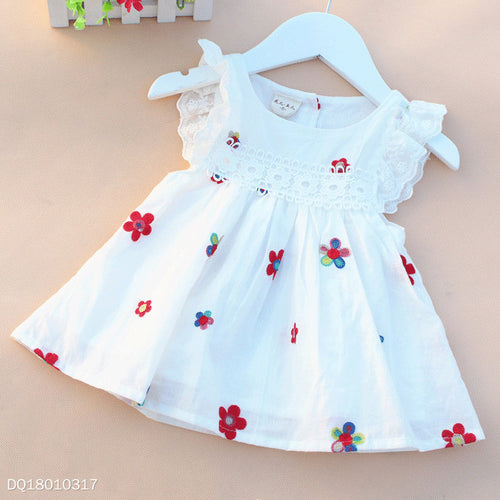 Fly Sleeve Applique Flower Embroidered Back Button Dress - yoyosfashion