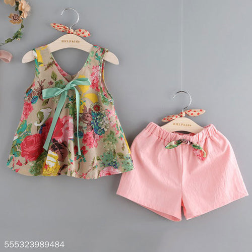 Flower Prints Bowknot Decorated Elastic Waist Set - yoyosfashion