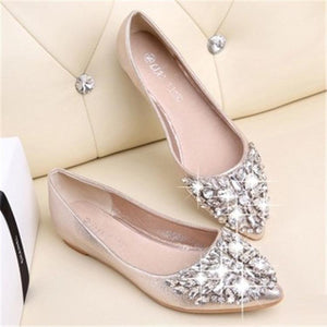 Fashion Rhinestone Pure Color Flat Shoes - yoyosfashion