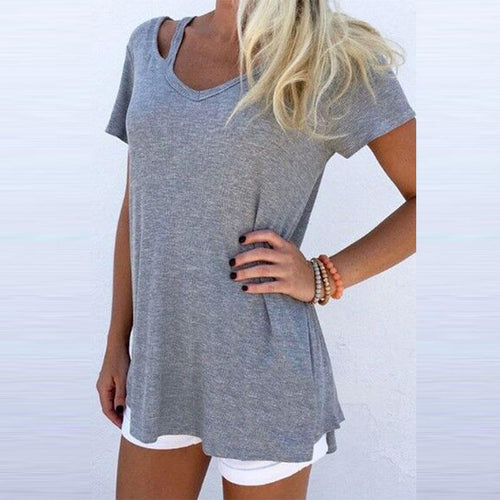 V Neck  Cutout  Plain T-Shirts - yoyosfashion